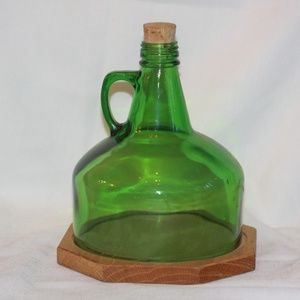 Vintage MCM Green Glass Jug Cheese Board Round